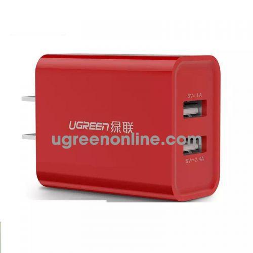 Ugreen 40917 3.4A Red Us Plug Dual Usb Charger Two Port Sạc Nhanh 2 Cổng Cd104