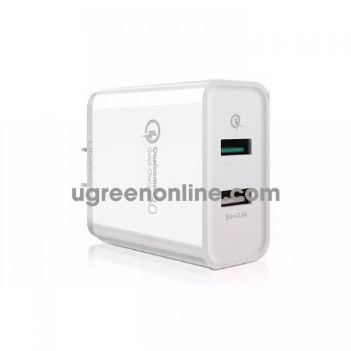 Ugreen 30563 30W Dual Qc3.1 + 2.4A Usb Charger Us Black Sạc Nhanh 3.0 Cd132