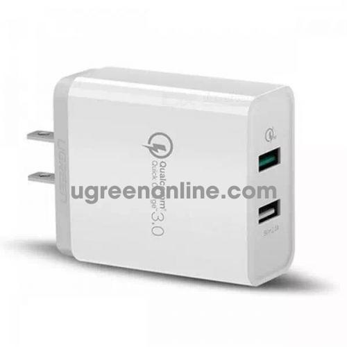Ugreen 40713 30W Dual Qc3.1 + 2.4A Usb Charger Eu White Sạc Nhanh 3.0 Cd132