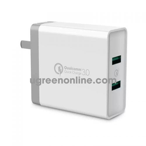 Ugreen 40715 Qc3.0 + Qc3.0 36W Dual Fcp Usb Charger Quick Charge White Cd161
