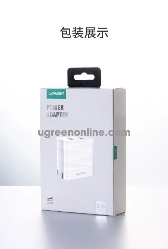 Ugreen 50955 Dual Usb 3.1A + 2.4A Charger Us White Sạc Nhanh Cd146