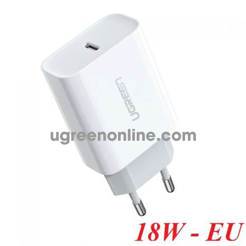 Ugreen 60450 18w pd 3.0 fast usb type c quick charger for iphone eu white CD137