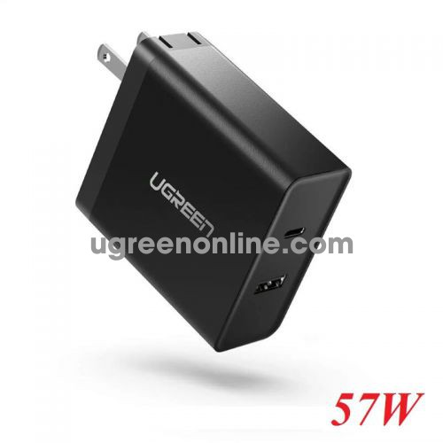 Ugreen 50457 pd 45W wall charger type c and usb a folding foot pattern black beauty CD172 10050457