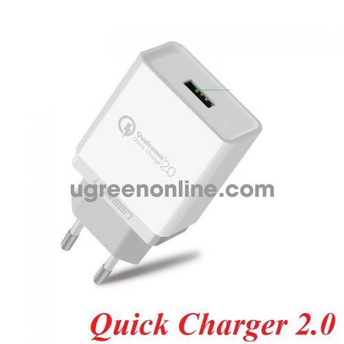 Ugreen 20901 Sạc nhanh QuickCharge 2.0 màu trắng CD122