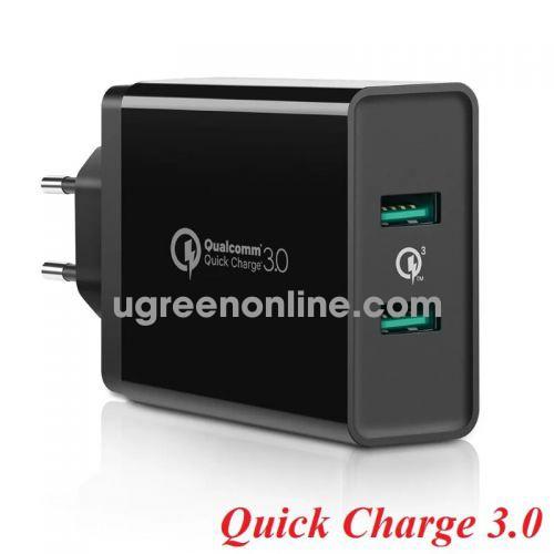 Ugreen 40585 QC 3.0 FCP USB Charger sạc nhanh 2 ports EU Plug White 40585