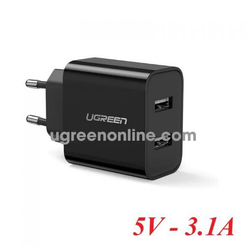 Ugreen 50876 Black Dual USB Wall Charger 5V - 3.1A CD104 10050876