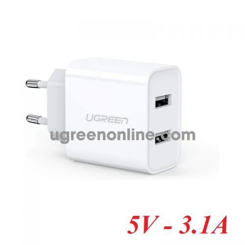 Ugreen 50877 White Dual USB Wall Charger 5V - 3.1A CD104 10050877
