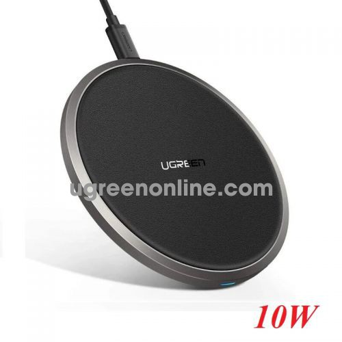 Ugreen 50517 Black Wireless Charger 10W QI Fast Charging Pad Mat with Anti-Slip Rubber CD176 10050517