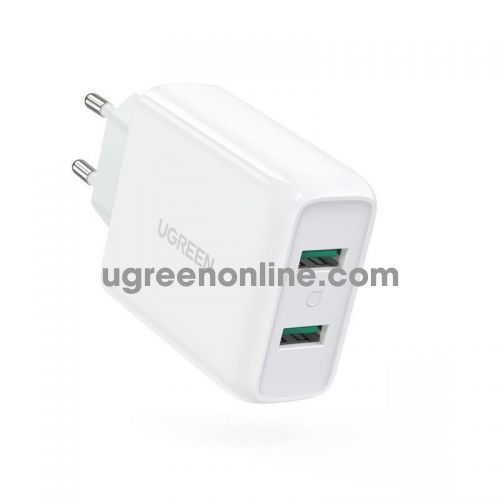 Ugreen 70163 36W QC3.0 White2 x USB A dual Fast Charger EU CD161 10070163