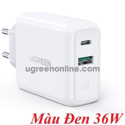 Ugreen 60469 36W QC3.0 qc4.0 usb type c + A Wall Charger EU Black CD170 10060469