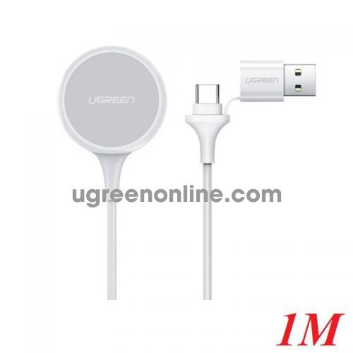 Ugreen 60969 1M 5V 1A White Apple Watch Magnetic Charger input USB A + C CD177 10060969