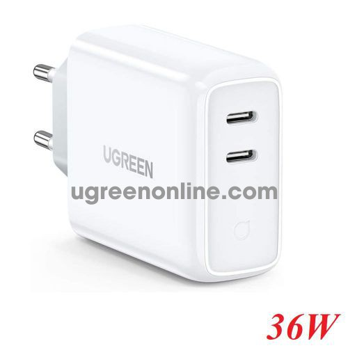 Ugreen 70264 36W PD 2 x usb type c port dual Fast White Charger EU CD199 10070264