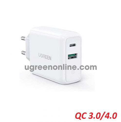 Ugreen 60468 36W white USB A and type C dual port Wall Charger EU QC3.0 - 4.0 CD170 10060468