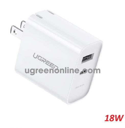 Ugreen 70152 18W USB A and type C white PD QC3.0 dual port US Wall Charger CD212 10070152
