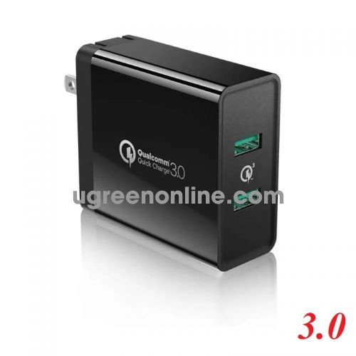 Ugreen 40583 Black Dual Port Quick Charge 3.0 USB Wall Charger Fast Charger 36W 40583
