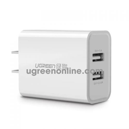 Ugreen 20328 White Dual USB Wall Charger Power Adapter authentic / 3.4A 2xl USB output CD104