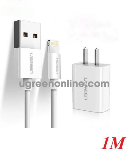 Ugreen 50907 White Apple Charger Set MFi Certified Data Cable Quick Charge Head Universal iPhone11 / XR / XsMax / 87 Mobile Phone iPad Tablet 2.1A 50907 10050907