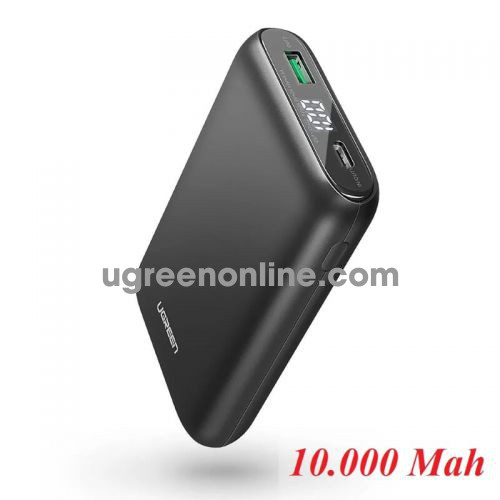 Ugreen 70399 Black Type C Power Bank with 18W PD Charging QC 3.0 Fast Charge 10.000Mah PB137
