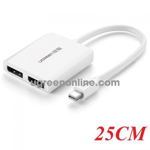 Ugreen 40871 25CM White Mini DP to Dual Port DP Converter 4K HD Adapter CM119