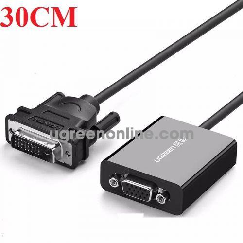 Ugreen 40387 Cáp tròn chuyển đổi DVI 24+1 to VGA dài 30cm DVI D to VGA Active Converter Flat MM108 10040387