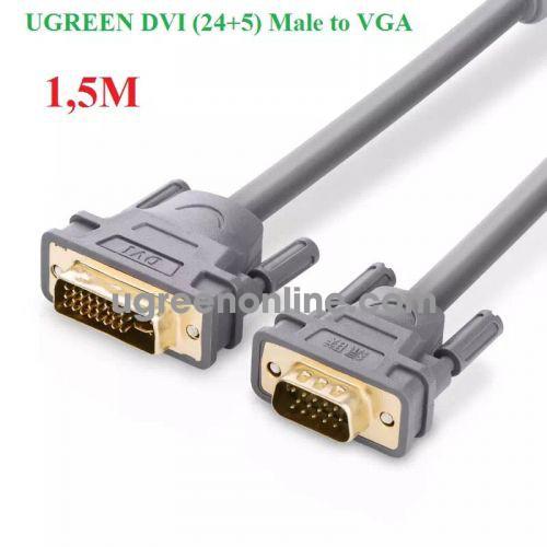 Ugreen 11659 Cáp chuyển đổi DVI 24+5dương sang VGA dương dài 1.5m màu xám UGREEN DVI 24+5 Male to VGA male converter cable DV104 10011659