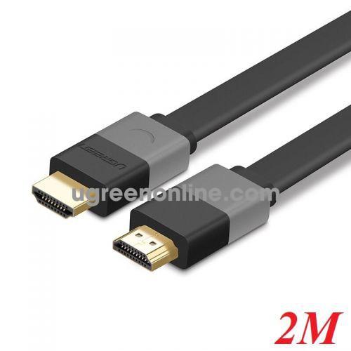 Ugreen 30110 2M Hdmi Flat Cable Black 1.4 Hd120 Full Copper 19+1 Hd120