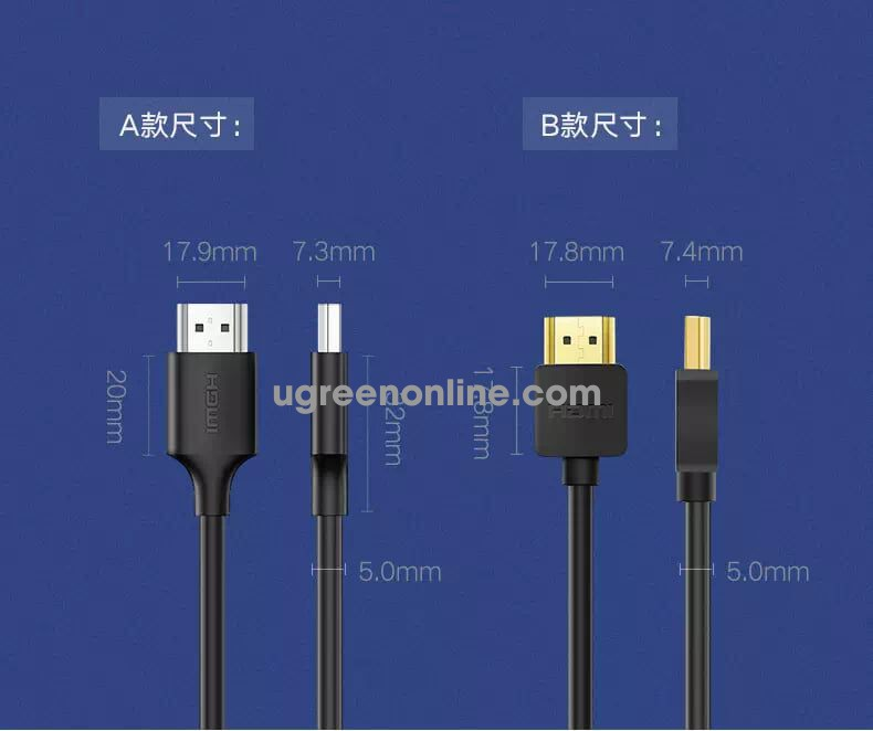 Ugreen 60173 0.5M Cáp HDMI 2.0 Cable Male to Male Support 4K*2K 32AWG màu đen HD134