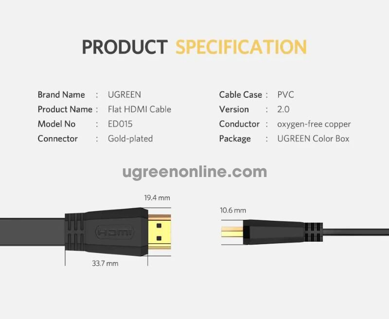 Ugreen 70159 2m hdmi 2.0 flat cable black ed015