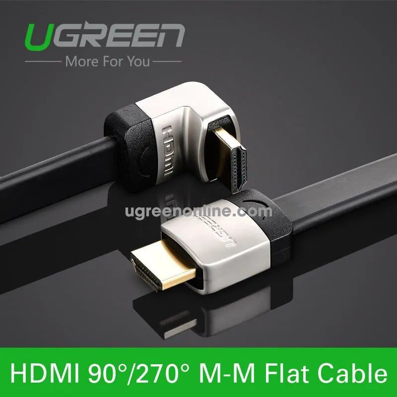 Ugreen 10281 1m hdmi right angle flat cable metal connectors straight to down 1.4v full copper 19 + 1 black hd122