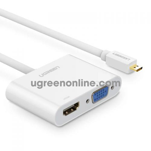 Ugreen 30354 Micro Hdmi To Hdmi + Vga Adapter With 3.5Mm Audio Port TrắNg 10Cm Mm115