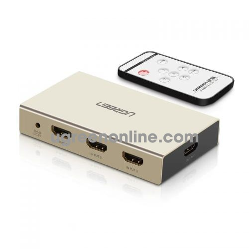 Ugreen 40369 Hdmi 3*1 Switch With 3.5Mm + Spdif Zinc Alloy Mm128