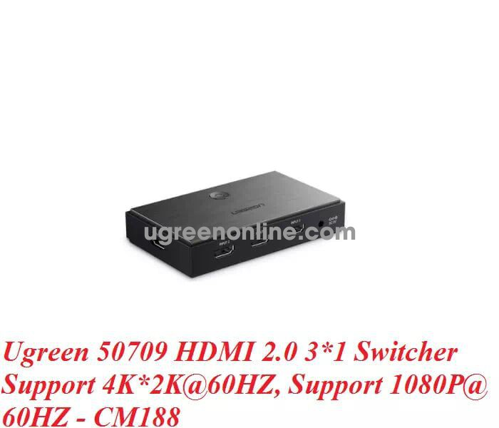 Ugreen 50709 Hdmi 2.0 3 In 1 Out Switcher Support 4K*2K@60Hz 1080P Cm188