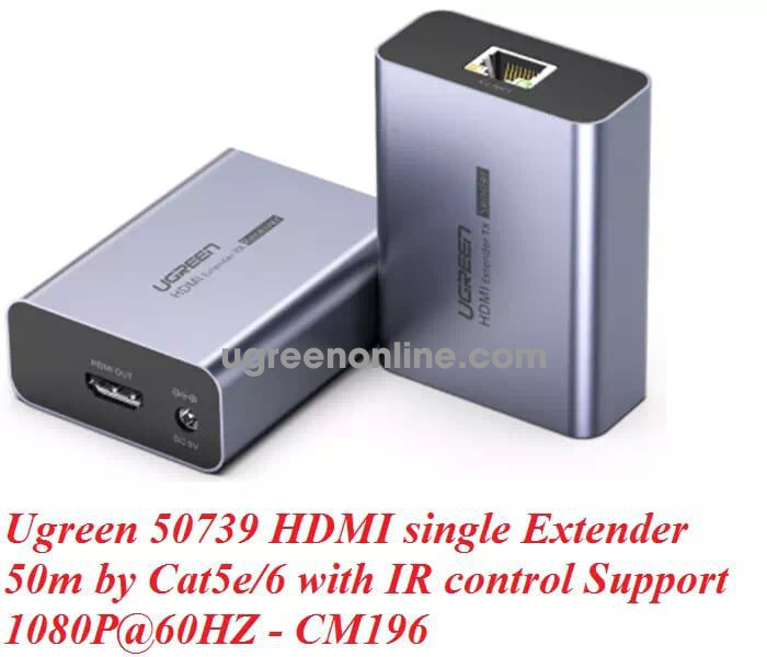 Ugreen 50739 50M Hdmi Single Extender Cat5E 6 With Ir Control Support 1080P@60Hz Cm196
