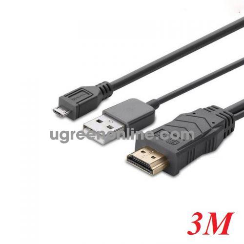 Ugreen 20138 3M Xám Dây Mhl Micro Usb 5 Chân Sang Hdmi Chiếu Điện Thoại Android Lên Tv Máy Chiếu Mh101 10020138