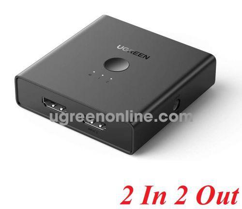 Ugreen 70689 2 in 2 Out 4K 60hz 2.0 black HDMI Switcher splitter CM318 10070689
