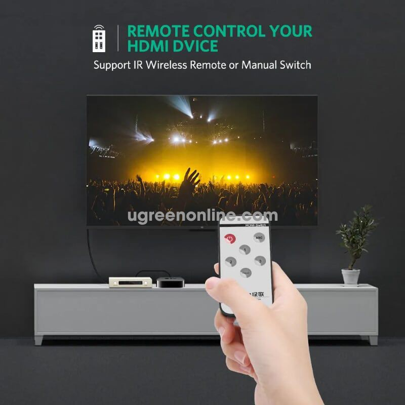 Ugreen 40526 3 inputs hdmi switch with ir remote control supports 4 k resolution 3d and audio return channel 40526
