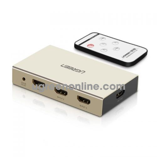 Ugreen 40526 3 inputs hdmi switch with ir remote control supports 4 k resolution 3d and audio return channel 40526 10040526