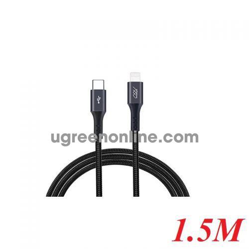 INNOSTYLE D_ICL150_ GR 1.5M Black Gray Cáp Sạc Nhanh Innostyle Duraflex 18w usb type c To Lightning Mfi Iphone Ipad Ipod 95528