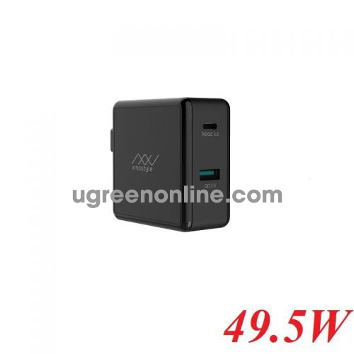 INNOSTYLE IC49PD - BK 49.5w Black Sạc Nhanh Innostyle Gomax Pd 1*usb type c Pd & 1*Usb A Qc3.0 18w 95390