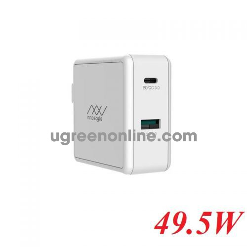 INNOSTYLE IC49PD - WT 49.5w White Sạc Nhanh Innostyle Gomax Pd 1*usb type c Pd & 1*Usb A Qc3.0 18w 97055