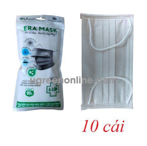 Eramask 15562 ERAtuitrang túi 10 cái màu trắng khẩu trang era mask 4 lớp hoạt tính kháng khuẩn dùng cho y tế - đi đường - sinh hoạt hàng ngày 10015562