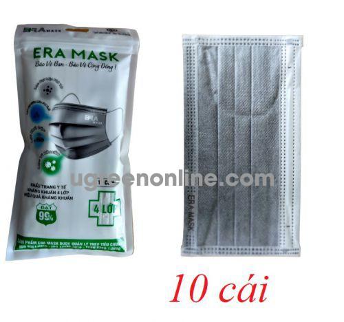 Eramask 18067 ERAtuixam túi 10 cái màu xám đen khẩu trang era mask 4 lớp hoạt tính kháng khuẩn dùng cho y tế - đi đường - sinh hoạt hàng ngày 10018067