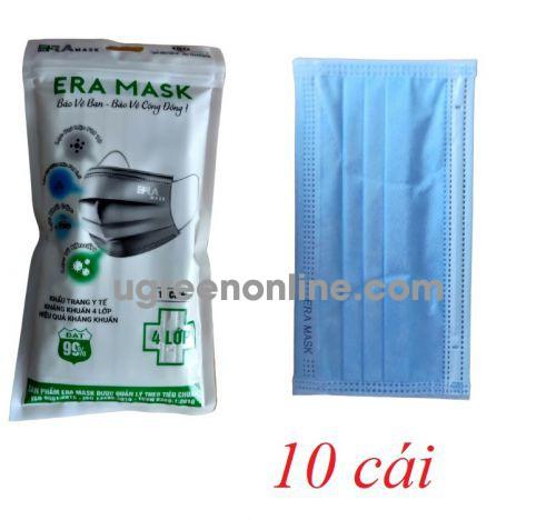Eramask 18922 ERAtuixanh túi 10 cái màu xanh khẩu trang era mask 4 lớp hoạt tính kháng khuẩn dùng cho y tế - đi đường - sinh hoạt hàng ngày 10018922