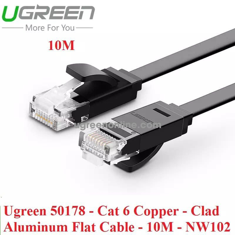 Ugreen 50178 Cat 6 Copper Clad Aluminum Flat Cable 10M Nw102