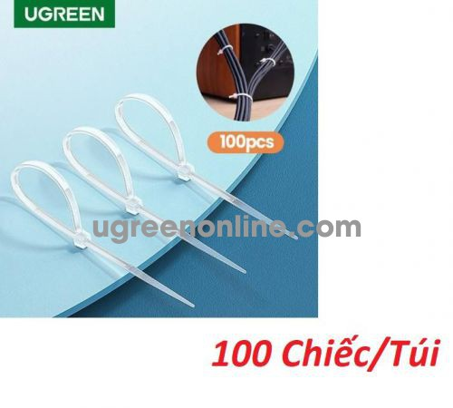 Ugreen 80109 150x2.5mm 100Pcs Cable Zip Ties Bag White NW139 10080109