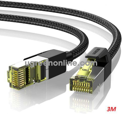 Ugreen 80424 3M Cat7 Pure Copper Braided Ethernet Cable OD5.5mm Black NW150 10080424