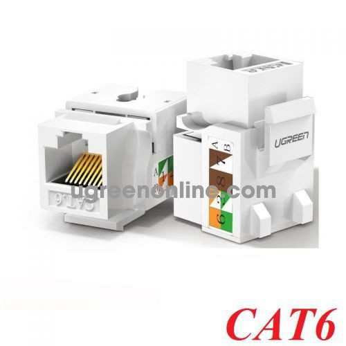 Ugreen 80178 cat6 white Unshielded Network Modules Keystone Ethernet 8P8C RJ45 100 Mbps 568A-B white NW143 10080178