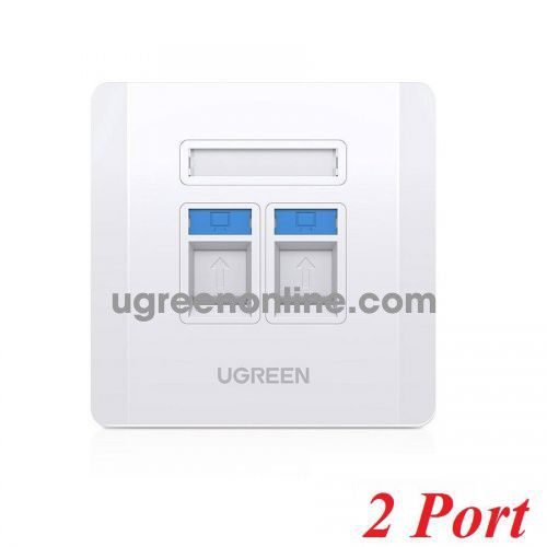 Ugreen 80182 RJ45 - RJ11 white Dual Wall socket internet LAN and telephone NW144 10080182