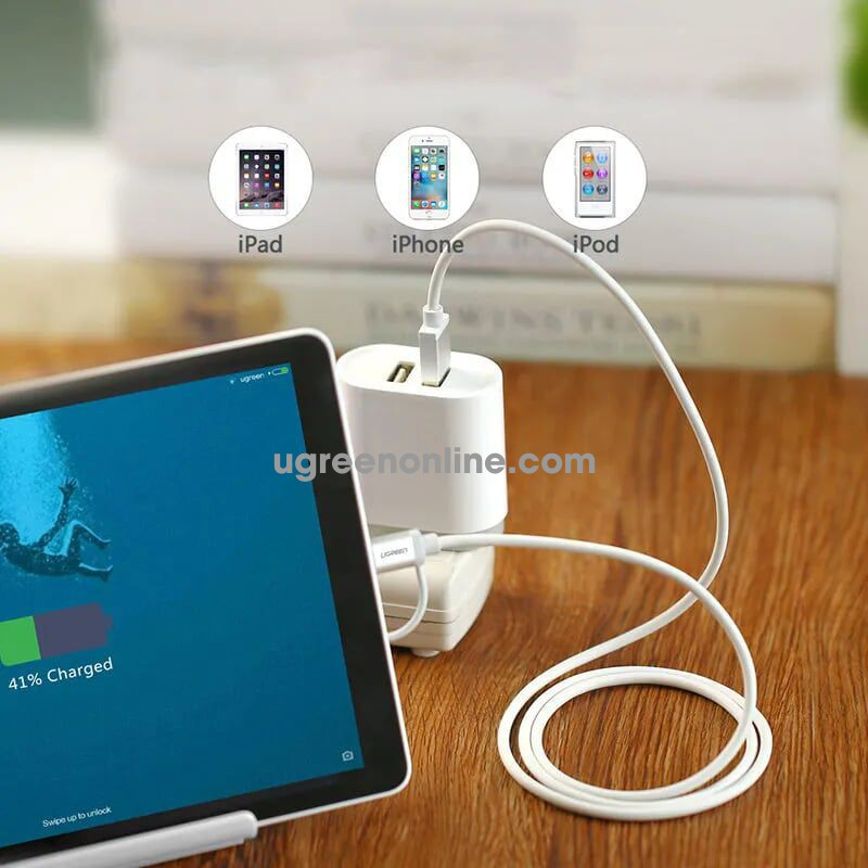 Ugreen 30668 0.5M Micro USB to USB cable cáp with Lightning Adapter Aluminum Case US165