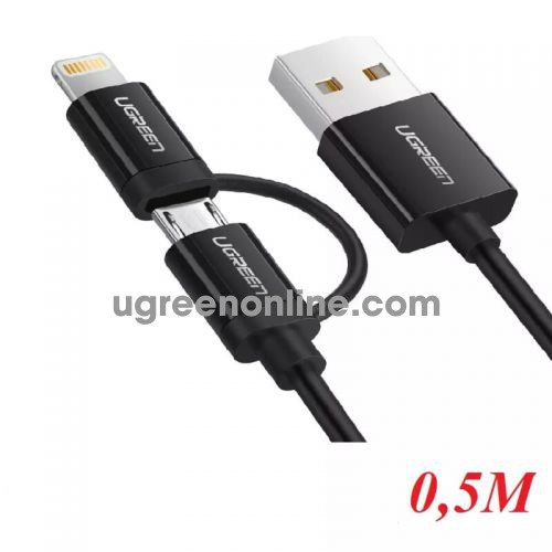 Ugreen 40939 0.5M USB to Micro USB + Mini USB Data cable cáp US178 10040939